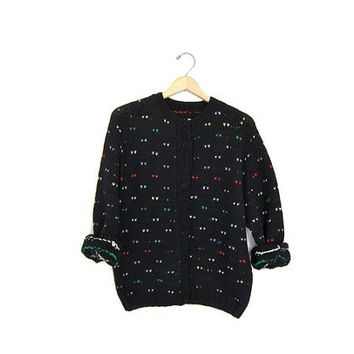 1950s cardigan sweater Black colorful Button up Granny Sweater. Hand woven Raglan Sleeves. Preppy grandma sweater.
