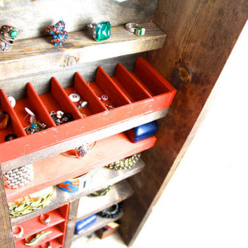 Hanging Jewelry Organizer made from repurposed wood... Handmade by TangleandFold