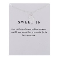 Simple Heart Card Alloy Clavicle Pendant Necklace  171208