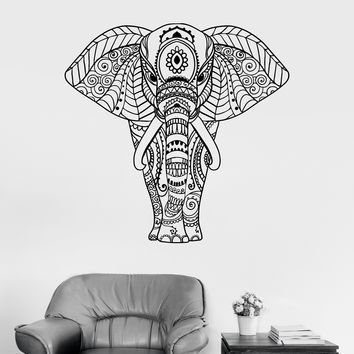 Vinyl Wall Decal Elephant Ornament Animal Patterns Stickers Mural Unique Gift (ig3449)