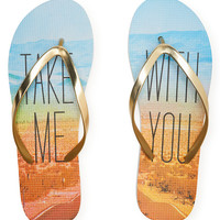 Aeropostale  Metallic Take Me Flip-Flop - Gold,
