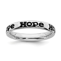 Sterling Silver Stackable Expressions Enameled Hope Ring
