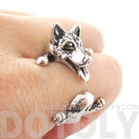 3D Siberian Husky Dog Shaped Animal Wrap Ring in Shiny Silver | Sizes 6 to 9