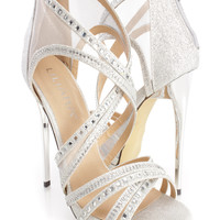 Silver Rhinestone Strappy Single Sole Heels Glitter
