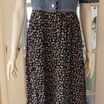 Vintage Floral Denim Long Dress, Jean Dress, Grunge Denim Maxi Dress Size S