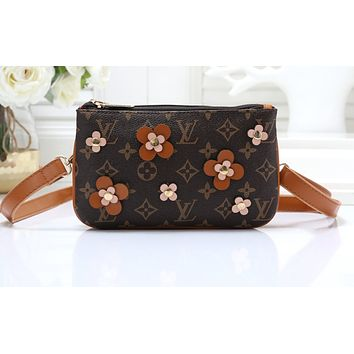 LV Fashion Sells All-India Women's Small Single Shoulder Bag Brown flower