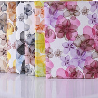 Fashion arrival cute stand flip Flower Series Pastoral Style Printed pu leather case  for iPad air with air 2  freeshipping