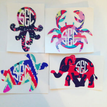 Monogram Sticker Decals - Lilly Pulitzer Inspired customized stickers