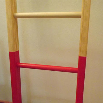 "ladder/ Reclaimed wood/ pine/ dipped/ red/ decorative style decor/58""H x 15""W"