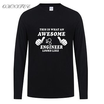 Spring This is What An Awesome Engineer T Shirt Long Sleeve Cotton T-shirt Men Top