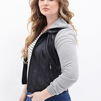 FOREVER 21 PLUS Faux Leather & Knit Moto Jacket Black/Heather Grey