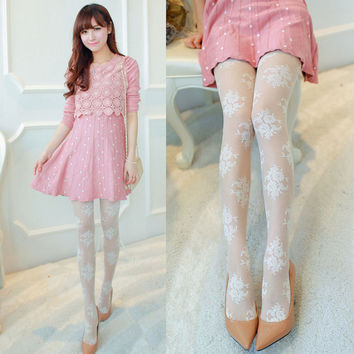 Cream Floral Paneled Hosiery Pantyhose Legging