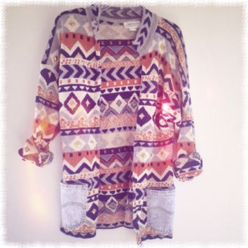One of a Kind Customized Gorgeous tribal Aztec print cardigan sweater with added studs and acid wash pockets