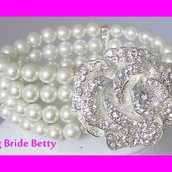 Romantic Bridal Bracelet W 4 Rows Of Cream Pearls W  Rosette Crystal Detail