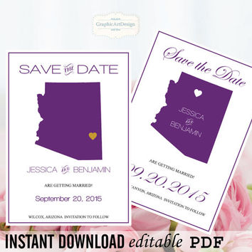 Arizona State Map Save the Date Editable PDF Templates - Arizona Eggplant State Map Save the Date Printable Instant Download - DIY You Print