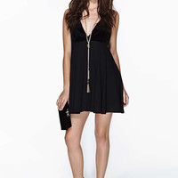 Black V-Neck Strap Criss-Cross Dress