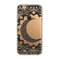IPhone Case- Clear with Black Crescent Moon