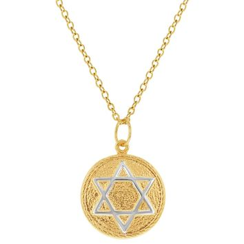 18k Gold Plated Jewish Judaica Star of David Medal Pendant Necklace 19""
