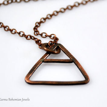 Air Alchemy Element Necklace. Mens Copper Pendant Necklace. Custom made Mens Necklace. Air, Fire, Water, Earth symbol. Unisex necklace.