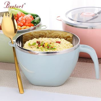 Bowl Lunch Box Salad Instant Noodle Stainless Steel Bowl Kitchenware Cookware & Free Gold Spork N-Bowl