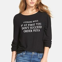 Women's Wildfox 'If At First You Don't Succeed' Long Sleeve Pullover ,