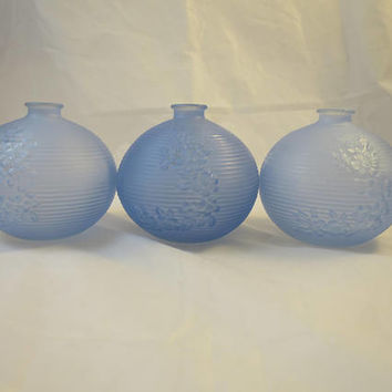 3 Vintage Powder Blue Round Ball Glass Vases Tiffin Style  Modern 1960s Frosted Blue Ribbed Flower Glass Vases 4 x4 inches