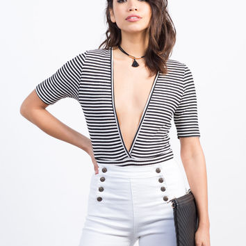 Plunging Striped Bodysuit
