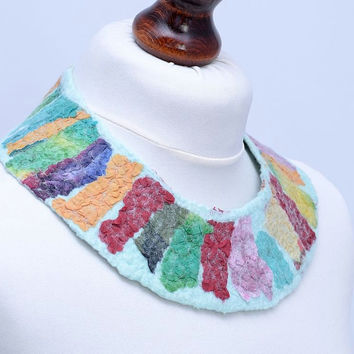 Multicolor pastel mint mosaic nuno felt collar necklace, wool and silk fabric, fiber necklace, wearable art, wide, soft, natural [N46]