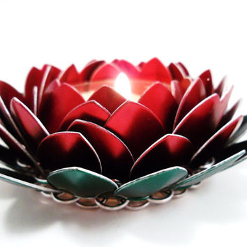 Chainmail Candle Holder Posable Poinsettia Lotus Flower Holiday Decor