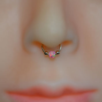 Nose/Ear/Septum Cuff, 14k Gold Filled Non Pierced Fake Opal Nose Ring, No Piercing Required helix/cartilage/tragus faux hoop, opal jewelry