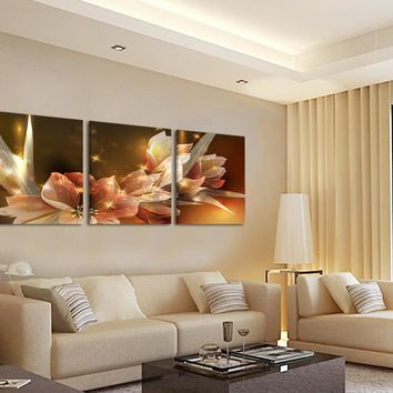 Art Oil Painting 3 Piece Wealth and Luxury golden No Frame