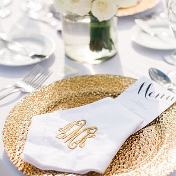 Monogrammed Napkins Linen-Like 20x20 Set of 6 Font Shown INTERLOCKING in gold