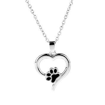 MIUSI Charm Dog Cat Paw Pendant Necklaces Hollow Heart Pet Foot Print Pet Lover Jewelry
