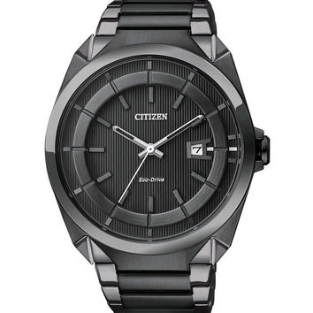 Citizen AW1018-55E Men's Eco-Drive Black IP Stainless Steel Black Dial Watch