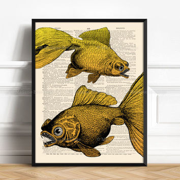 Piranha Poster, Sea Monster, Piranhas, Boy Birthday Poster, Horror Home Decor, Naval Decor, Reclaimed Paper, Happy Halloween Deco 155
