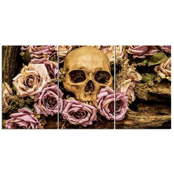 3 Panel Skull Pink Roses Flowers Panel Wall Art on Canvas Print Poster Framed UN