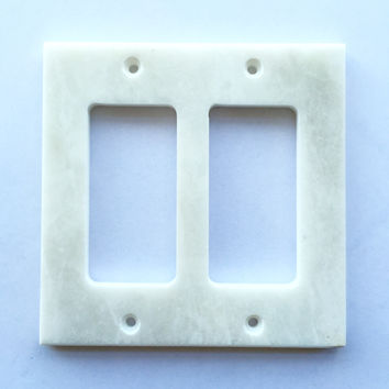 White Marble (Meram Blanc) Double Rocker Switch Wall Plate / Switch Plate / Cover - Polished