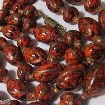 VINTAGE VENETIAN MURANO Red Black GLASS BEAD NECKLACE Foil Lampwork