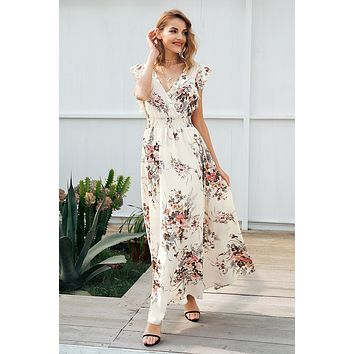 RWL Boutique - Ruffle backless bow print long dress Women v neck tie up summer dress female Casual beach boho chic maxi dress