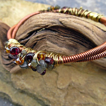 Garnet and Labradorite Piano Wire Bracelet // Natural Gemstone Wire Wrapped Piano Wire Bangle // Salvaged Piano Wire Jewelry