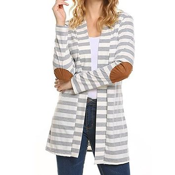 New Fashion 2017 Autumn Outerwear Women Long Sleeve Striped Cardigans Casual Elbow Patchwork Sweater Women Knitwear