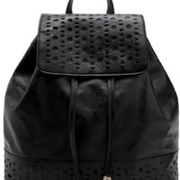Black Faux leather Drawstring Flap Backpack