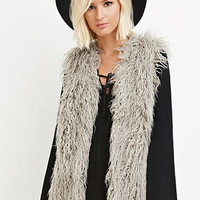 Collarless Shaggy Vest