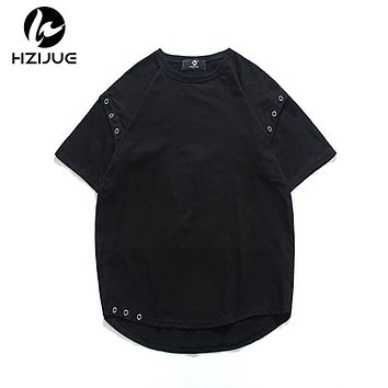 Original Design pure cotton t shirt hip hop Arc hem With Curve Hem t-shirt