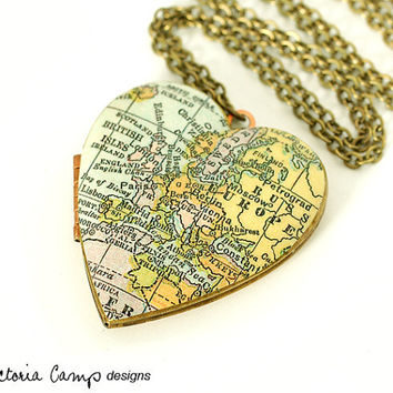 Europe Map Necklace, Vintage Heart Locket, Antique Map, Large Heart, London, Paris, Rome, Berlin