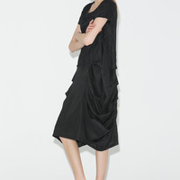 Black Linen Dress - Casual Midi Loose-Fitting Short Sleeved Unique Pleated & Ruched Sides Handmade Women's Dress (C694)