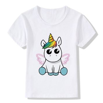Summer Tops Children T-Shirts Funny Cartoon Winged Unicorn Print Tees Short Sleeve Girls/Boys T Shirts Baby Casual Kids Clothes