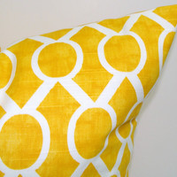 SALE.Yellow.Pillow.12x16 or 12x18 inch.Decorator Pillow Covers.Printed Fabric Front and Back.Yellow Housewares.Home Decor.Cushions.cm