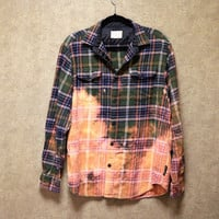 Bleached ombre green and orange flannel