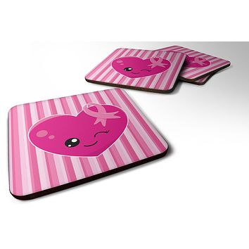 Breast Cancer Awareness Ribbon Heart Foam Coaster Set of 4 BB6982FC